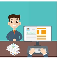 Interview a businessman Employment recruitment vector image
