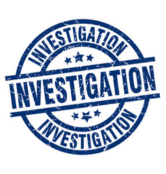 Investigation blue round grunge stamp vector