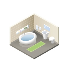 isometric bathroom set of modern bath furniture vector image