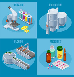 Isometric pharmaceutical industry composition vector