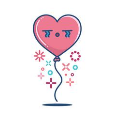 kawaii valentine sad heart balloon vector image