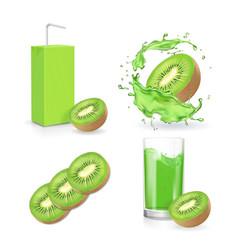 kiwi juice collection juice splash package vector image