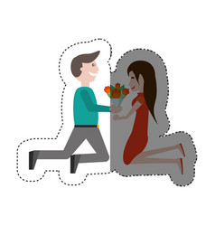 Kneeling couple love with flowers shadow vector