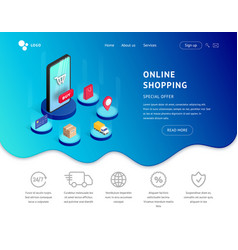 landing page isometric smartphone with icons vector image