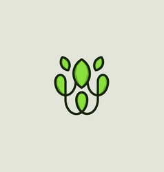 leaf ornate frame naturally business logo vector image