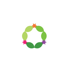leaves in circle natural abstract logo design vector image