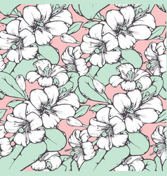 lemon blossom drawing seamless pattern vector image vector image
