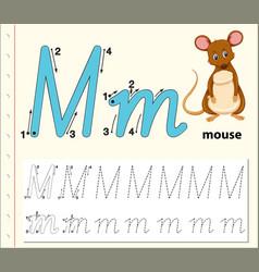Letter m tracing alphabet worksheets vector