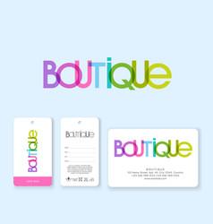 Logo boutique multicolor labels business card vector