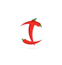 Logo red chili pepper letter i vector