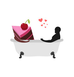 lover of cakes man and piece of cake in bath vector image