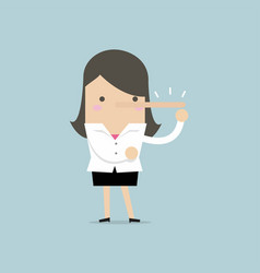 Lying businesswoman with long nose vector