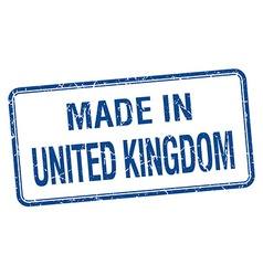 made in United Kingdom blue square isolated stamp vector image