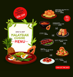 Malaysian cuisine menu template with asian food vector