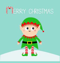 Merry christmas santa claus elf standing vector