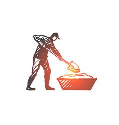 mixing cement repair worker equipment concept vector image