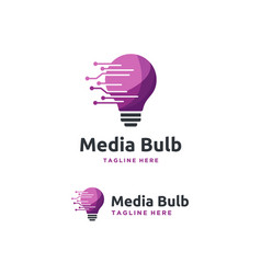 Modern digital bulb logo designs concept vector