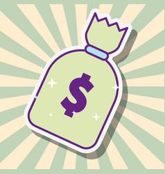 money bag dollar cash fortune cartoon style vector image