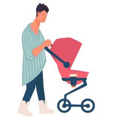 mother with newborn daughter in pink pram on walk vector image