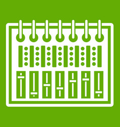 music equalizer console icon green vector image