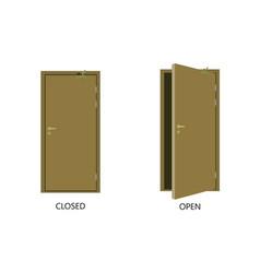 Open and closed door house front wooden open vector