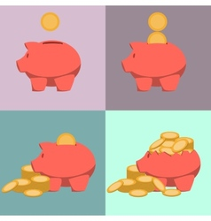 Piggy bank icon in style of flat design vector