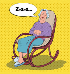 Pop art senior woman sleeping in chair grandmother vector