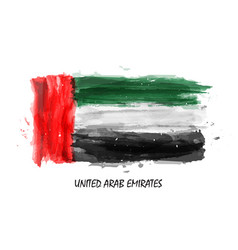 realistic watercolor painting flag of uae vector image