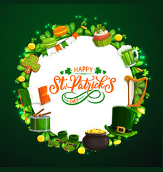 saint patricks day round frame on green vector image