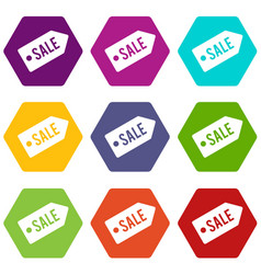 sale icon set color hexahedron vector image