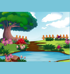 Scene with river in garden vector