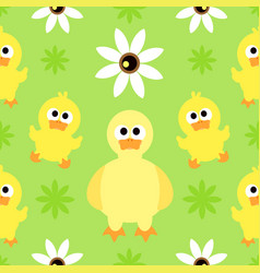 seamless background with funny duck vector image