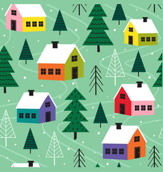seamless pattern with colorful houses in winter vector image