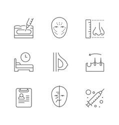 set line outline icons plastic surgery vector image