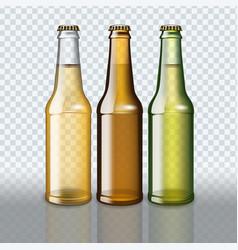 set of full beer bottles on transparent background vector image