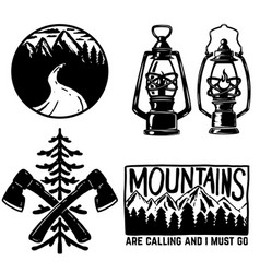 set of hiking icons kerosene lamp axe emblems vector image