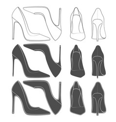 Set of images of female shoes on the heel vector