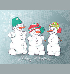 set of winter holidays snowman cheerful snowmen vector image