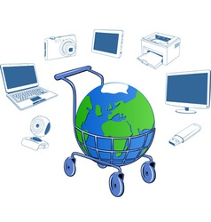 Shopping cart containing a globe vector