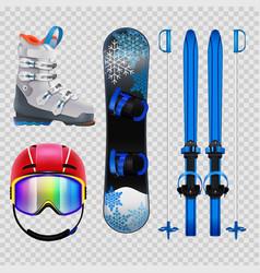 ski and snowboard equipment set vector image