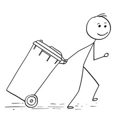 Smiling man pulling wheelie bin vector