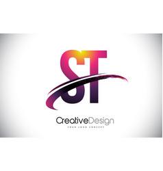 St s t purple letter logo with swoosh design vector
