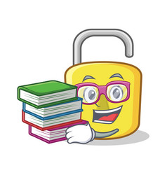 student with book yellow lock character mascot vector image