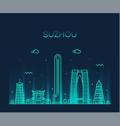 suzhou skyline east china linear style vector image