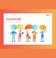 team work creative process landing page template vector image