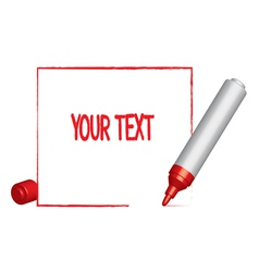 Text frame and a red felt-tip pen vector