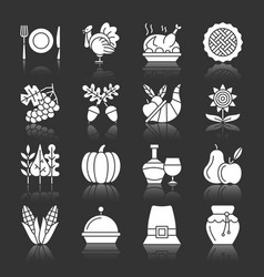 thanksgiving day icons white silhouette reflection vector image