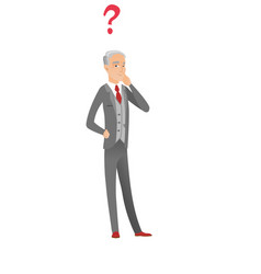 Thinking caucasian businessman with question mark vector