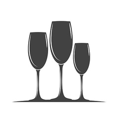 Three wine glasses Black icon logo element flat vector image