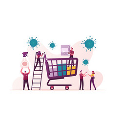 Tiny characters around huge shopping trolley vector